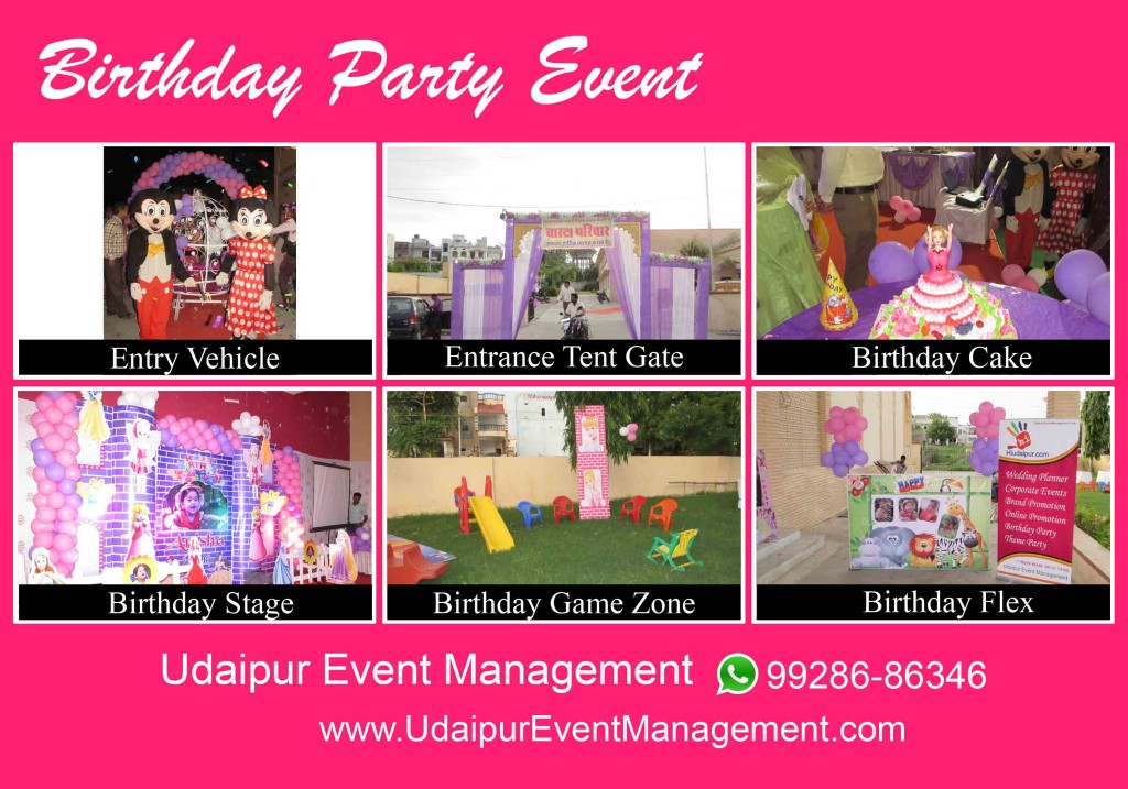 BirthdayParty-ThemeCake-Stage-Gamezone-EntranceGate-CartoonCharactor-in-Udaipur