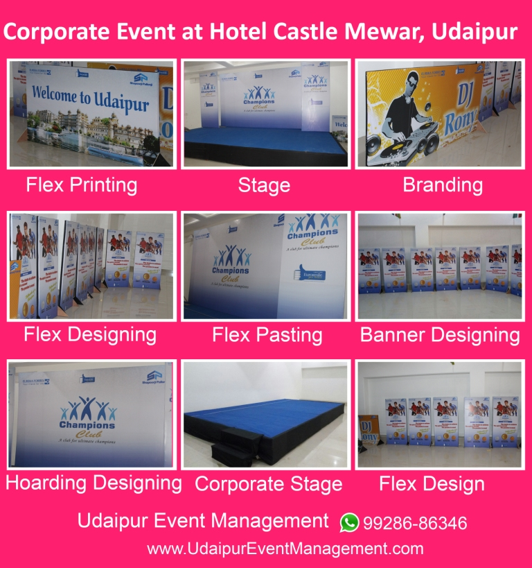 Corporateevent-stagesetup-flexwork-printdesign-blackmasking-flexpasting-Udaipur-Rajasthan